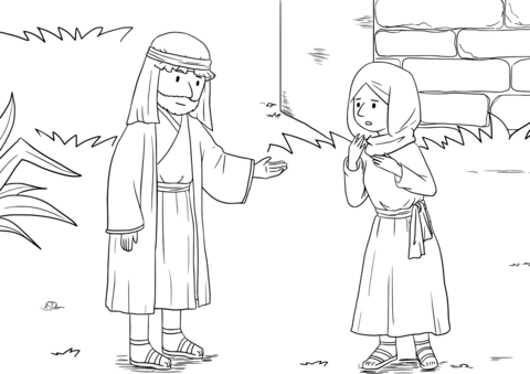 The Widow of the Prophet Asks Elisha for Help coloring page.