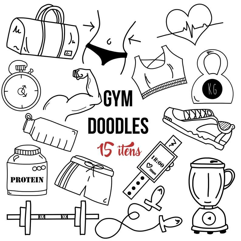 15 Fitness Doodles Clipart.