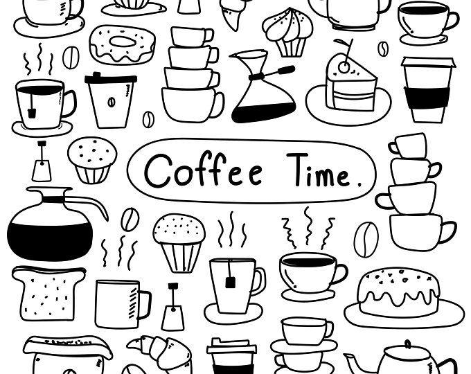 Hand Drawn Coffee Shop Clipart Set Coffee Logo Clipart.