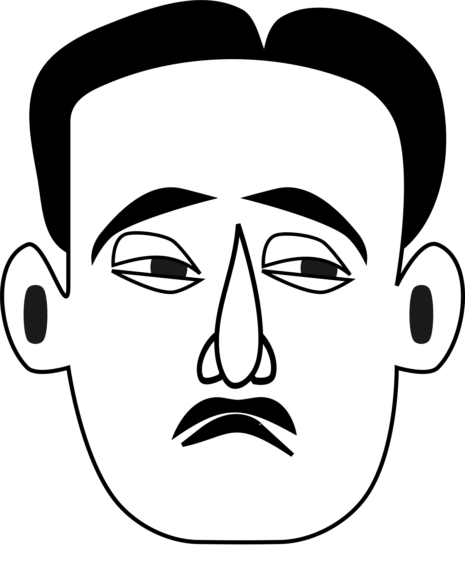 Sad face clip art black and white.