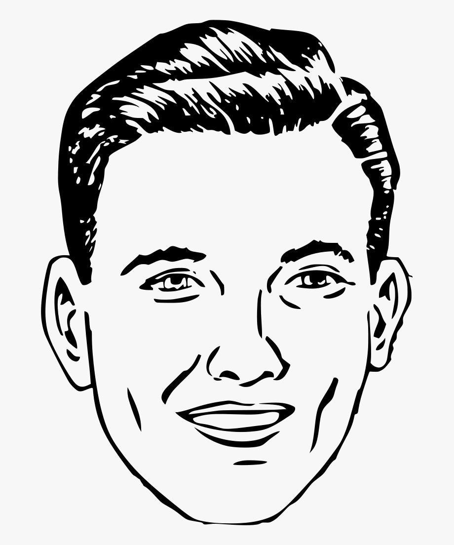 Man Face Clipart Black And White , Png Download.