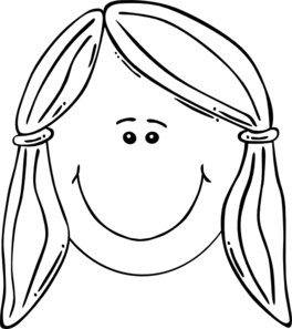 Smiling Girl Face Balck & White Clip Art at Clker.com.