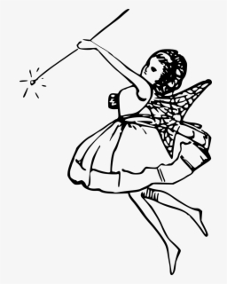 Free Fairy Black And White Clip Art with No Background.