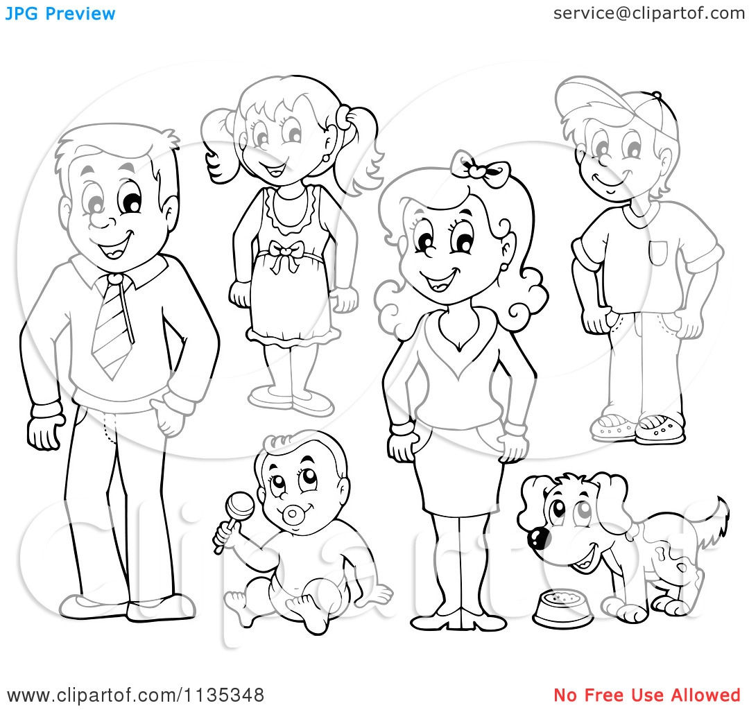 Family Members Clip Art Black And White.