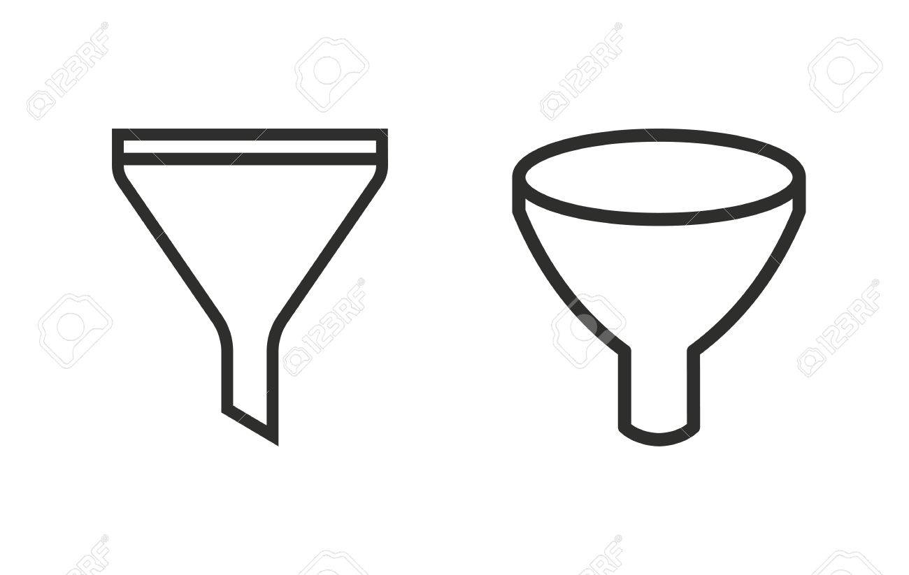 Funnel vector icon. Black illustration isolated on white ...