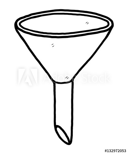 funnel / cartoon vector and illustration, black and white.