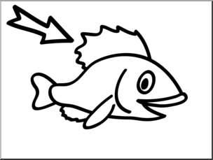 Clip Art: Basic Words: Fin B&W Unlabeled I abcteach.com.