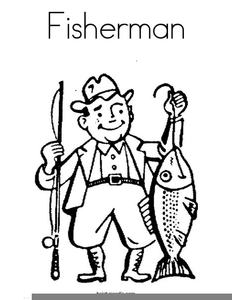Fisherman Clipart Black And White.