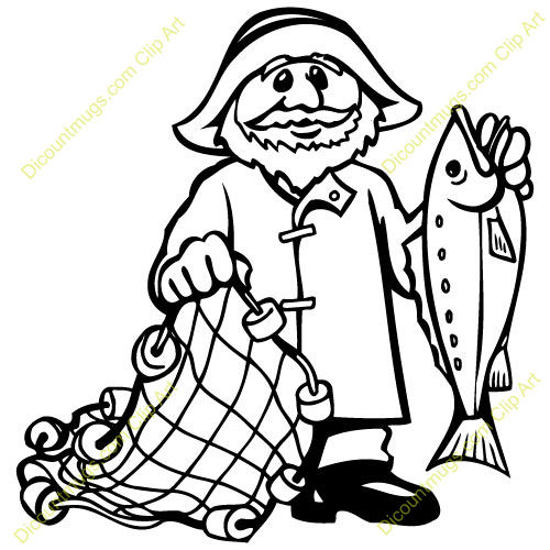 Fisherman With Net Clipart Black And White.