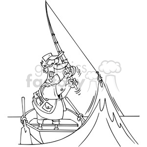 cartoon fisherman in black and white clipart. Royalty.