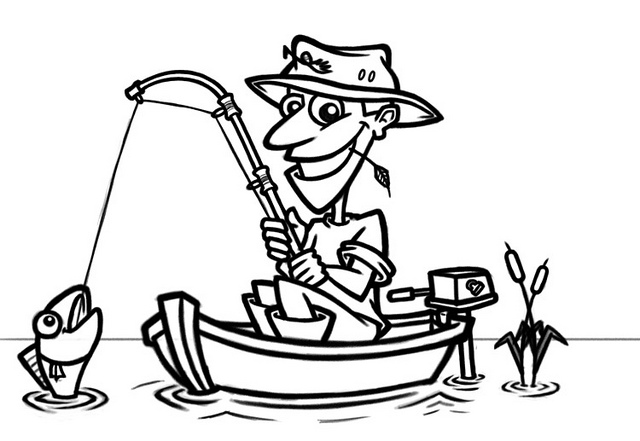 Man Fishing Clipart Black And White.