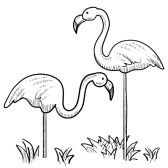 flamingo clip art black and white.