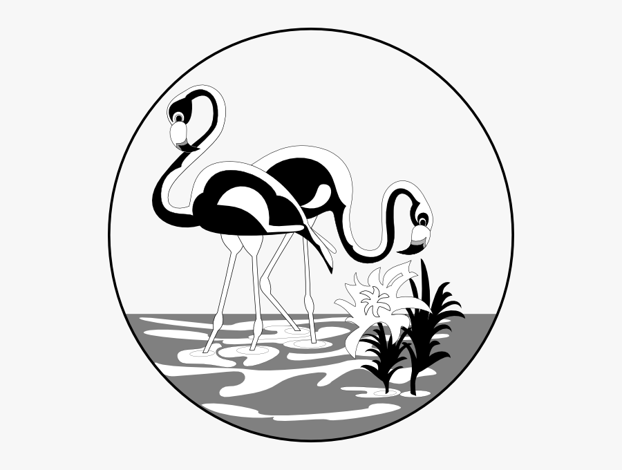 Black And White Flamingos Clip Art.