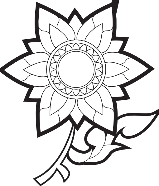 Clip Art Flower Black And White.