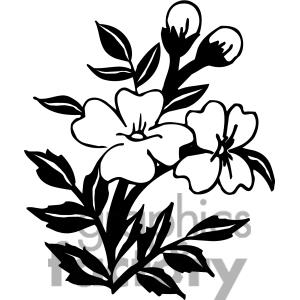 black and white clipart flower - Clipground