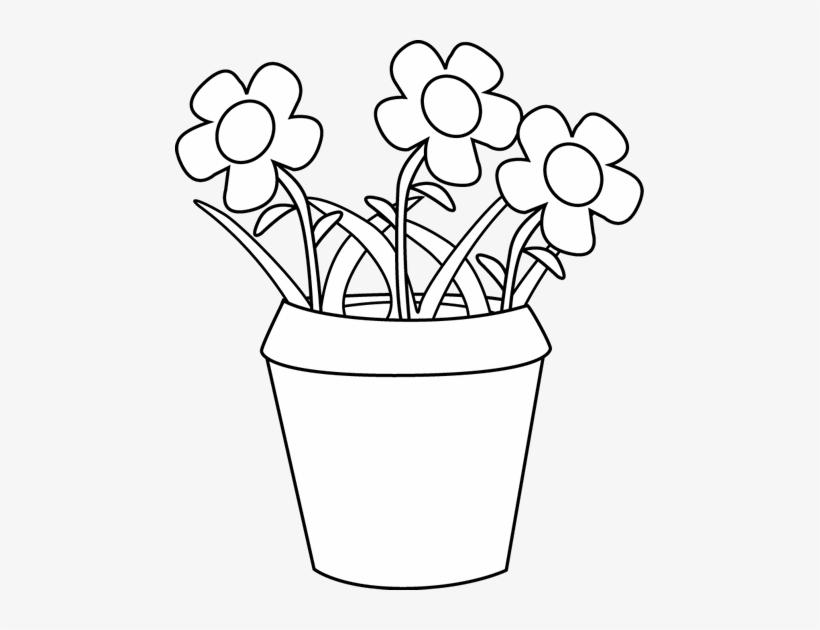 Svg Black And White Clipart Flower Pot.