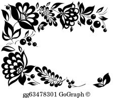 Black And White Flowers Clip Art.