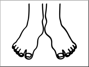 Clip Art: Basic Words: Feet B&W Unlabeled I abcteach.com.
