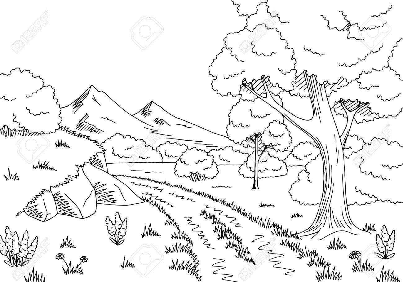 Forest black and white clipart 4 » Clipart Station.