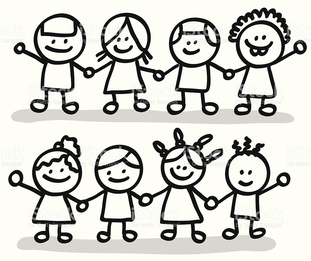 Friends Holding Hands Clipart Black And White.