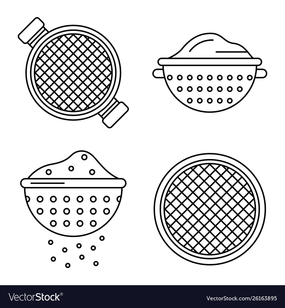 Sieve icons set outline style.