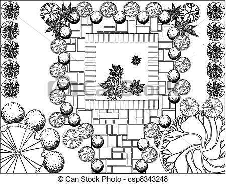 Vector of Plan of garden black and white csp8343248.