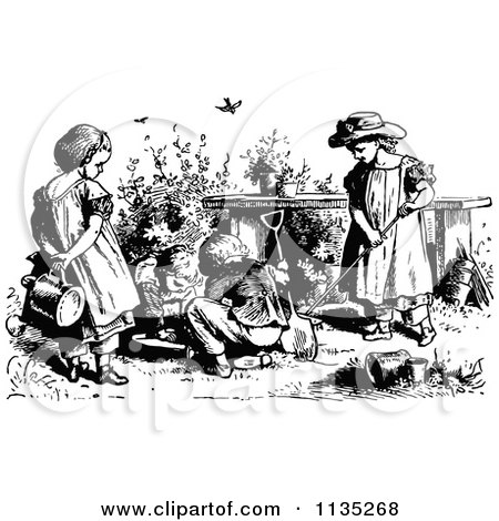 Clipart Vintage Black And White Garden House.