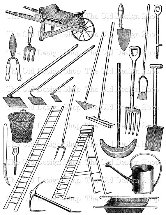 Vintage Garden Tools and Equipment Printable Black and White Clip.