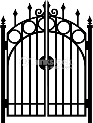Gate clipart black and white, Gate black and white.