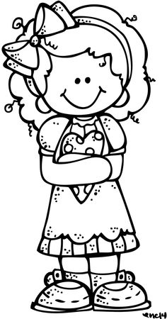 girl clipart black and white.