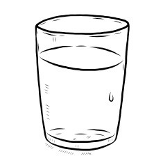 Great Of Glass Of Water Clipart Black And White.