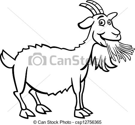 Clip Art Vector of farm goat cartoon for coloring book.