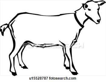 Goat Clip Art Black And White Image.