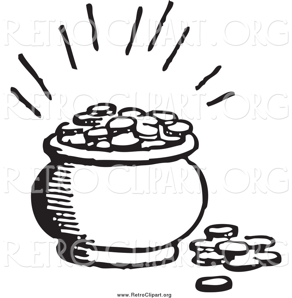 Pot Of Gold Clipart Black And White.