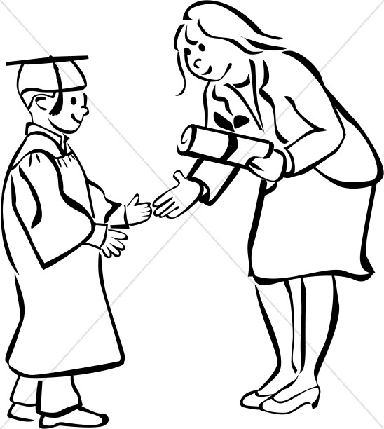 Child Graduate in Black and White.
