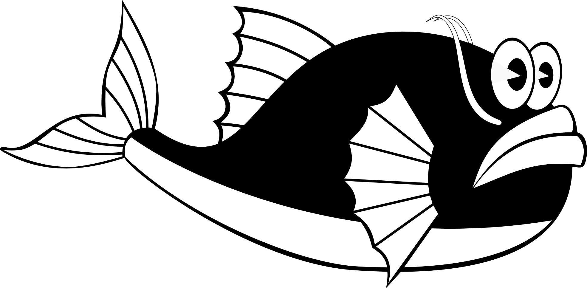 Whale Fish Black White Line Art Scalable Vector Graphics SVG.