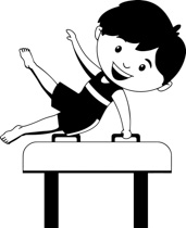 Gymnast Black And White Clipart.