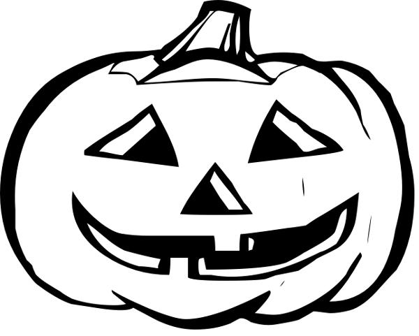 Halloween Pumpkin Clip Art Black and White.