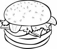 Burger Clipart Black And White.