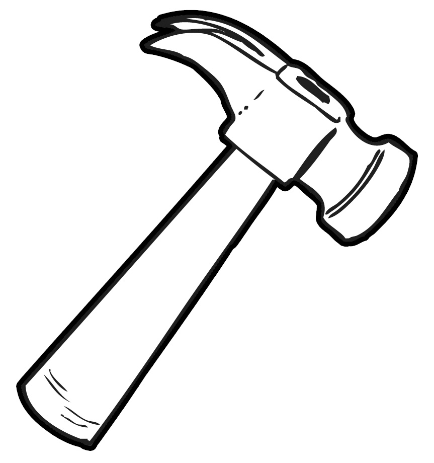 Black And White Clipart Hammer.