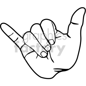 hand hang loose sign black white clipart. Royalty.