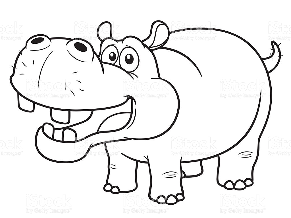 Black And White Clipart Hippo.
