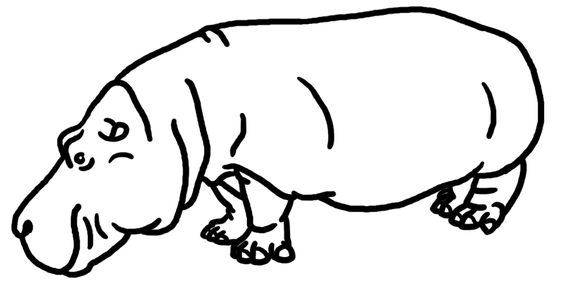 Hippo Clip Art Black And White N7 free image.