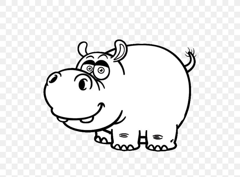 Hippopotamus Cartoon Drawing Black And White Clip Art, PNG.