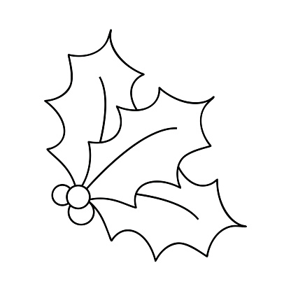 Free Clip Art Holly Leaves Black And White, Download Free.