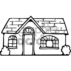 house 002 bw clipart. Royalty.