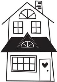 Simple Home Clipart Black And White.