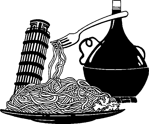 Italian Food Clipart Black And White.