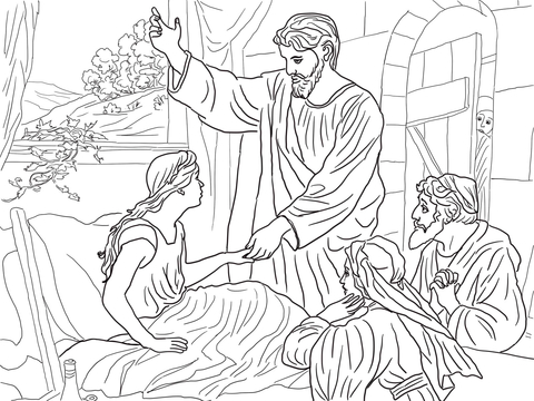 Jesus Raises Jairus Daughter coloring page.