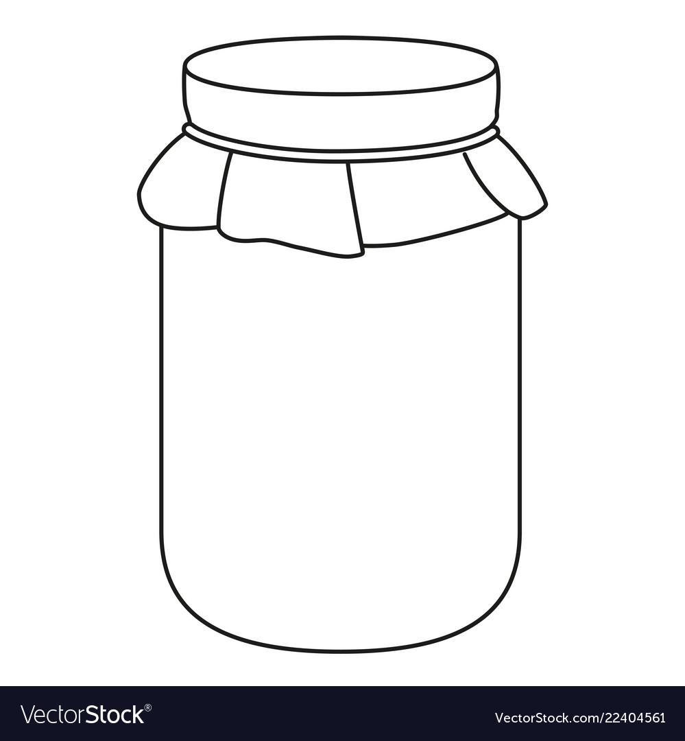 Line art black and white jam jar.